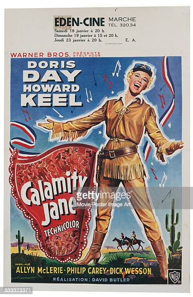A poster for David Butler's 1953 musical 'Calamity Jane' starring Doris Day and Howard Keel