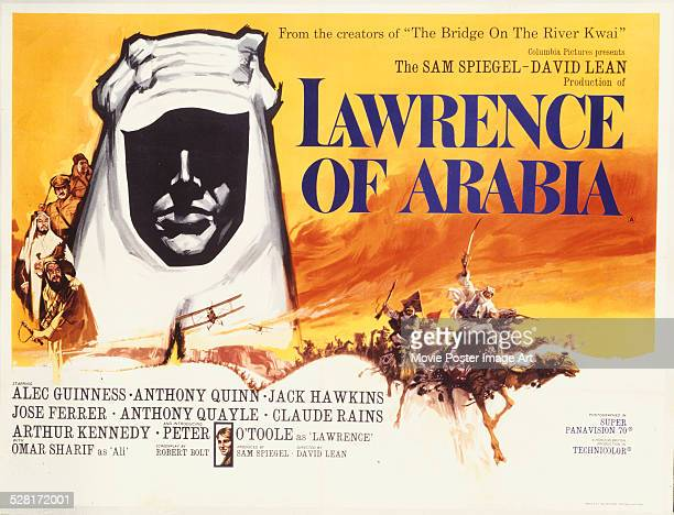 Poster for David Lean's 1962 biopic 'Lawrence of Arabia' starring Peter O'Toole.