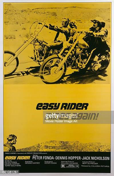 A poster for Dennis Hopper's 1969 drama 'Easy Rider' starring Peter Fonda and Dennis Hopper