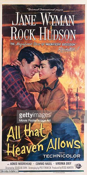 A poster for Douglas Sirk's 1955 drama 'All That Heaven Allows' starring Jane Wyman and Rock Hudson