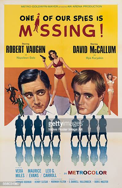 A poster for E Darrell Hallenbeck's 1966 action film 'One of Our Spies Is Missing' starring Robert Vaughn and David McCallum