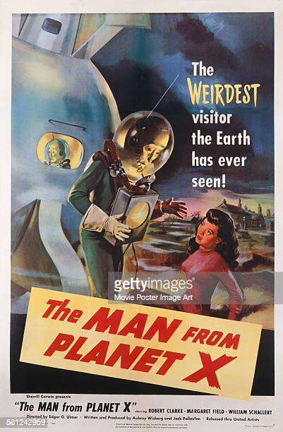 A poster for Edgar G Ulmer's 1951 horror film 'The Man from Planet X' starring Margaret Field