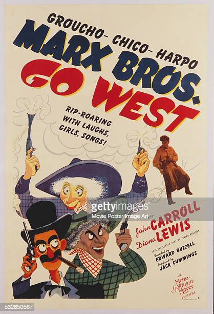 A poster for Edward Buzzell's 1940 comedy 'Go West' starring Groucho Marx Chico Marx and Harpo Marx