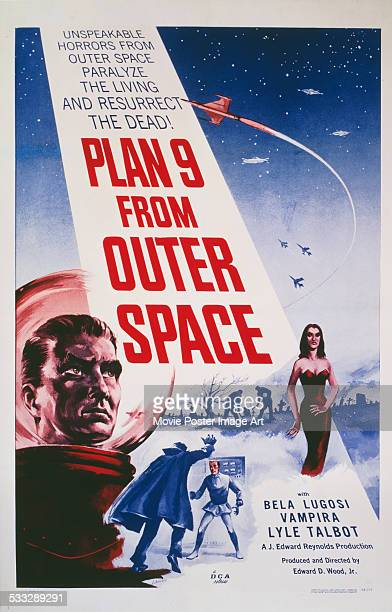 A poster for Edward D Wood Jr's 1959 science fiction film 'Plan 9 from Outer Space' starring Maila Nurmi