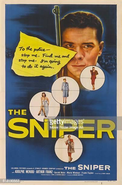 Poster for Edward Dmytryk's 1952 crime film 'The Sniper' starring Arthur Franz.