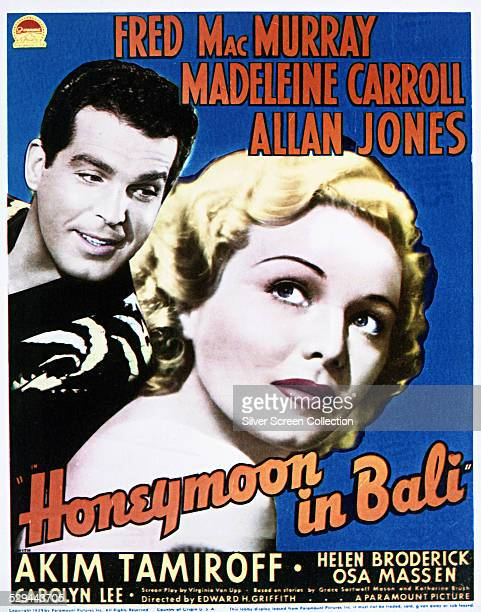 A poster for Edward H Griffith's 1939 romantic comedy 'Honeymoon In Bali' starring Fred MacMurray and Madeleine Carroll
