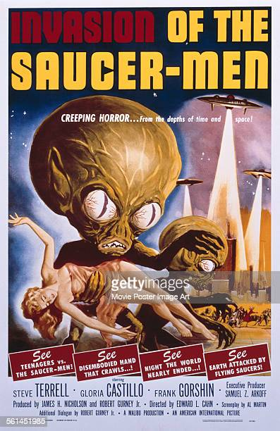 A poster for Edward L Cahn's 1957 comedy 'Invasion of the Saucer Men'