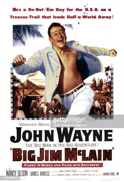 A poster for Edward Ludwig's 1952 political thriller 'Big Jim McLain' starring John Wayne as an anticommunist HUAC investigator