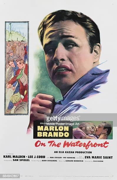 A poster for Elia Kazan's 1954 crime film 'On the Waterfront' starring Marlon Brando