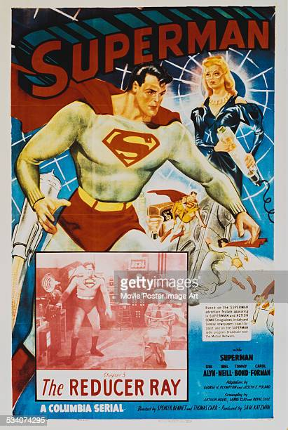 A poster for episode three 'The Reducer Ray' of Spencer Gordon Bennet and Thomas Carr's 1948 superhero film serial 'Superman' starring Kirk Alyn and...