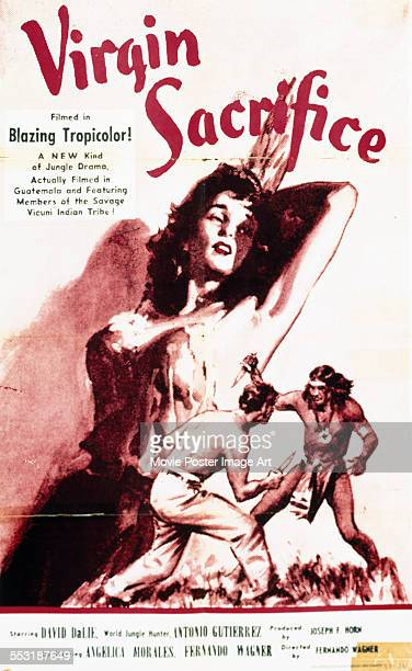 A poster for Fernando Wagner's 1959 adventure film 'Virgin Sacrifice'