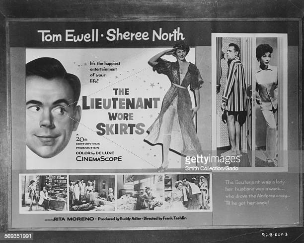 Poster for film the Lieutenant Wore Skirts directed by Frank Tashlin and starring Tom Ewell Sheree North and Rita Moreno 1956
