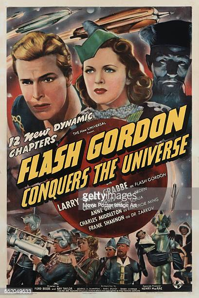 A poster for Ford Beebe and Ray Taylor's 1940 action film 'Flash Gordon Conquers the Universe' starring Buster Crabbe Carol Hughes and Charles...