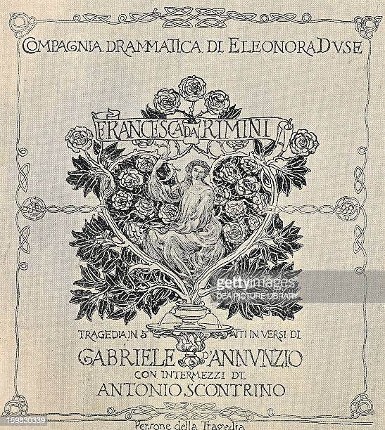 Poster for Francesca da Rimini by Gabriele D'Annunzio production staged by Eleonora Duse's company