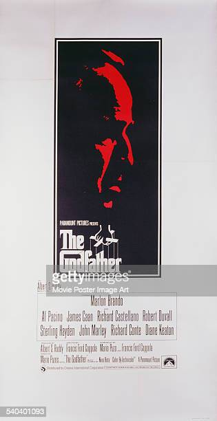 A poster for Francis Ford Coppola's 1972 crime film 'The Godfather' starring Marlon Brando