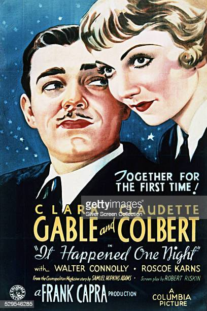 A poster for Frank Capra's 1934 romantic comedy 'It Happened One Night' starring Clark Gable and Claudette Colbert