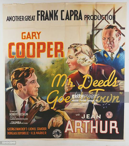 A poster for Frank Capra's 1936 comedy 'Mr Deeds Goes to Town' starring Gary Cooper and Jean Arthur