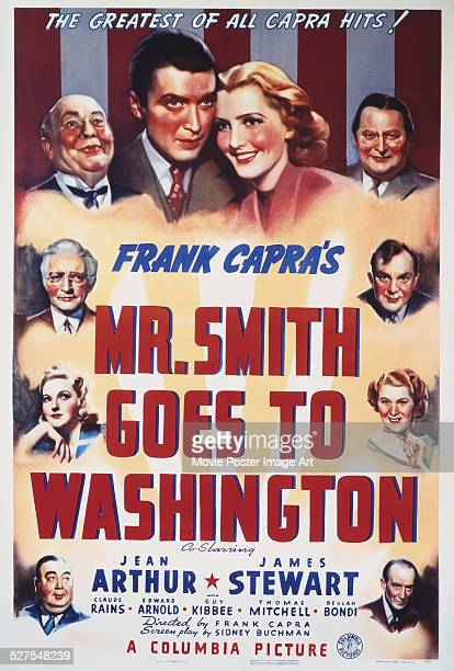 A poster for Frank Capra's 1939 drama 'Mr Smith Goes to Washington' starring James Stewart and Jean Arthur