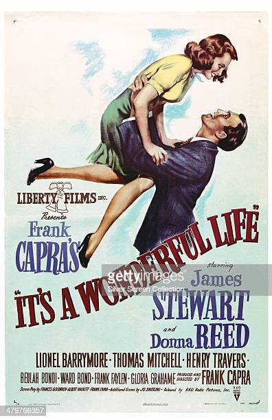 Poster for Frank Capra's 1946 comedy-drama 'It's A Wonderful Life', starring James Stewart and Donna Reed.