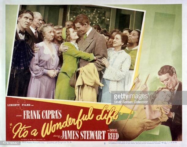 A poster for Frank Capra's 1946 comedydrama 'It's A Wonderful Life' starring James Stewart and Donna Reed Left to right Frank Faylen HB Warner Sarah...