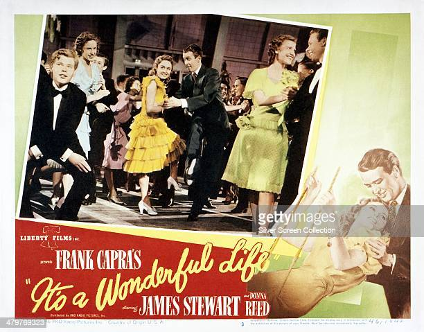 Poster for Frank Capra's 1946 comedy-drama 'It's A Wonderful Life', starring James Stewart and Donna Reed .