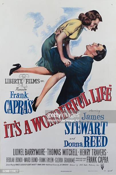 A poster for Frank Capra's 1946 drama 'It's a Wonderful Life' starring James Stewart and Donna Reed