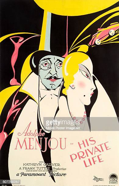 A poster for Frank Tuttle's 1928 comedy 'His Private Life' starring Adolphe Menjou