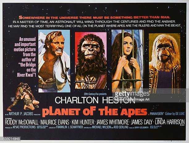 A poster for Franklin J Schaffner's 1968 adventure film 'Planet of the Apes' starring Charlton Heston Roddy McDowall Kim Hunter and Maurice Evans