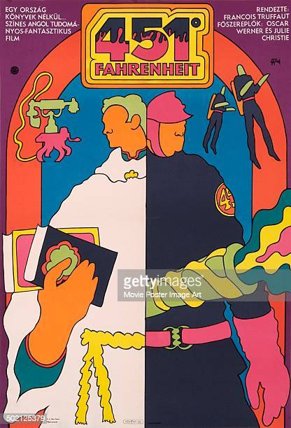 A poster for François Truffaut's 1966 science fiction thriller 'Fahrenheit 451'
