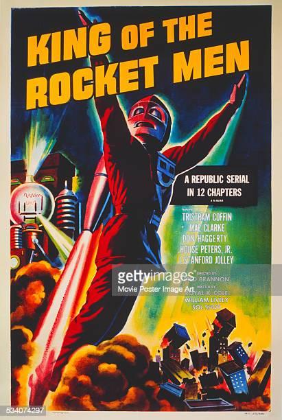 Poster for Fred C. Brannon's 1949 superhero movie serial, 'King Of The Rocket Men', starring Tristram Coffin.