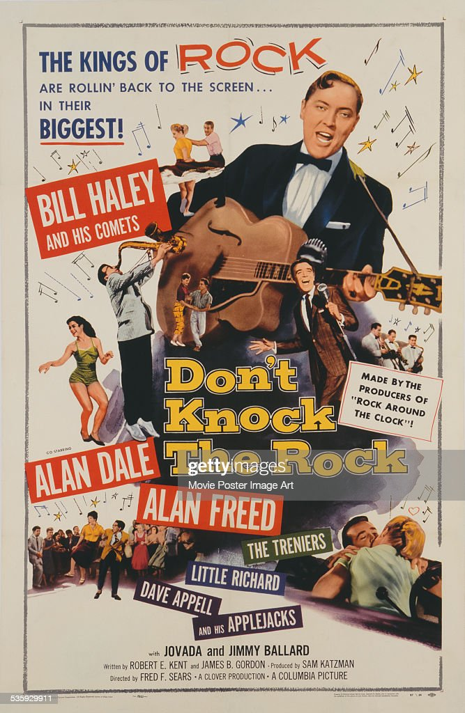 A poster for Fred F. Sears' 1956 musical film 'Don't Knock the Rock' starring Bill Haley.