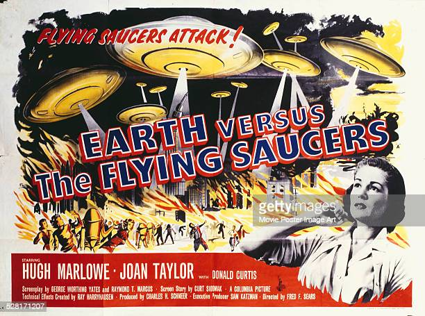 A poster for Fred F Sears' 1956 science fiction film 'Earth vs the Flying Saucers' starring Joan Taylor