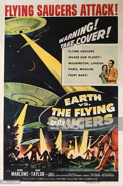 A poster for Fred F Sears' 1956 science fiction film 'Earth vs the Flying Saucers'