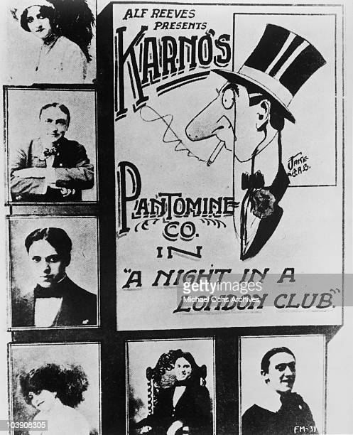 A poster for Fred Karno's sketch 'A Night In A London Club' circa 1910 The production features English comic actor Charlie Chaplin his elder...