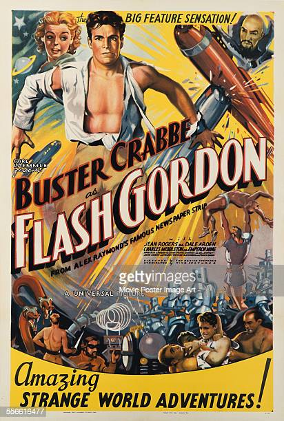 A poster for Frederick Stephani and Ray Taylor's 1936 science fiction film 'Flash Gordon' starring Buster Crabbe