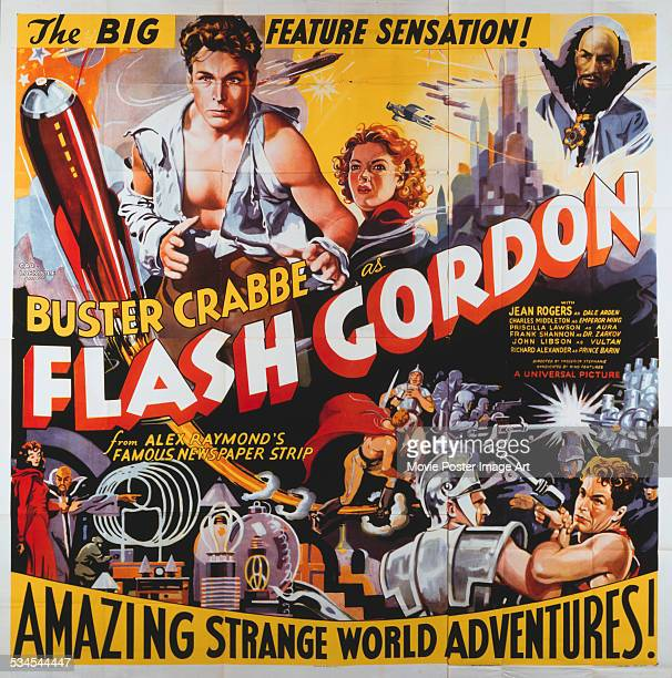 A poster for Frederick Stephani's 1936 action film 'Flash Gordon' starring Buster Crabbe Jean Rogers and Charles Middleton