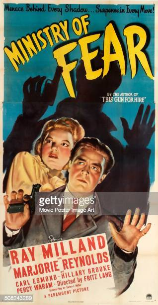 A poster for Fritz Lang's 1944 crime film 'Ministry of Fear' starring Ray Milland and Marjorie Reynolds