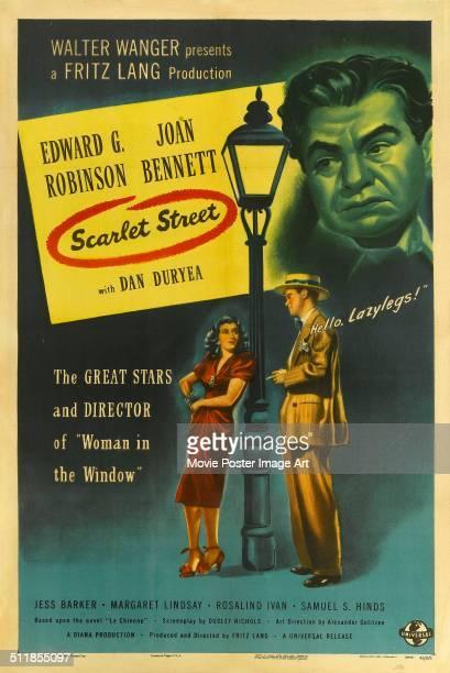 A poster for Fritz Lang's 1945 crime film 'Scarlet Street ' starring Edward G Robinson and Joan Bennett