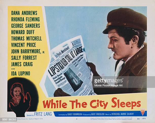 A poster for Fritz Lang's 1956 crime film 'While the City Sleeps' starring John Drew Barrymore