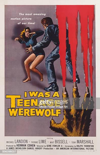 A poster for Gene Fowler Jr's 1957 horror 'I Was a Teenage Werewolf' starring Michael Landon