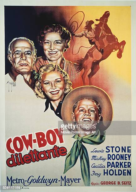A poster for George B Seitz's 1938 comedy 'CowBoy Dilettante' starring Mickey Rooney Lewis Stone Fay Holden and Cecilia Parker