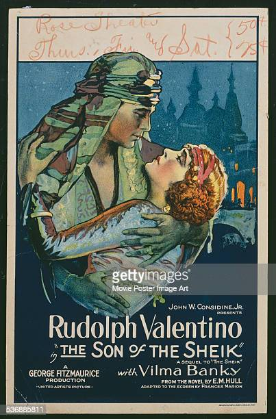 A poster for George Fitzmaurice's 1926 adventure film 'The Son of the Sheik' starring Rudolph Valentino and Vilma Banky