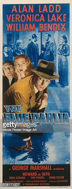 Poster for George Marshall's 1946 crime film 'The Blue Dahlia' starring Alan Ladd, Veronica Lake, and William Bendix.