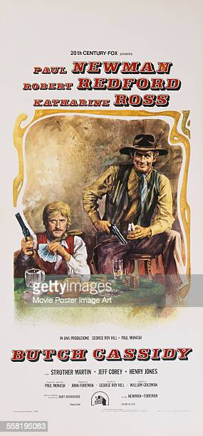 A poster for George Roy Hill's 1969 biopic 'Butch Cassidy and the Sundance Kid' starring Paul Newman and Robert Redford