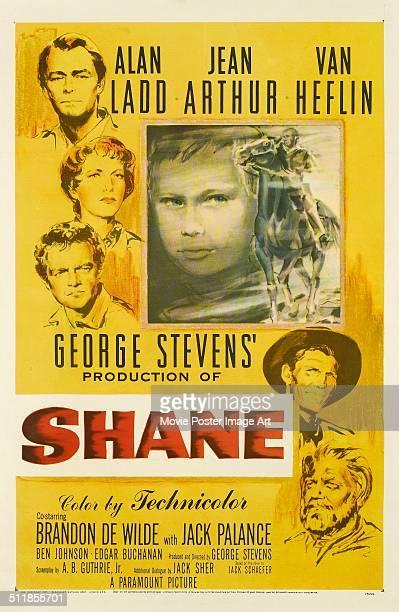 A poster for George Stevens' 1953 drama 'Shane' starring Alan Ladd Jean Arthur Van Heflin Brandon De Wilde and Jack Palance