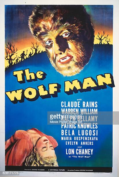 A poster for George Waggner's 1941 horror film 'The Wolf Man' starring Evelyn Ankers