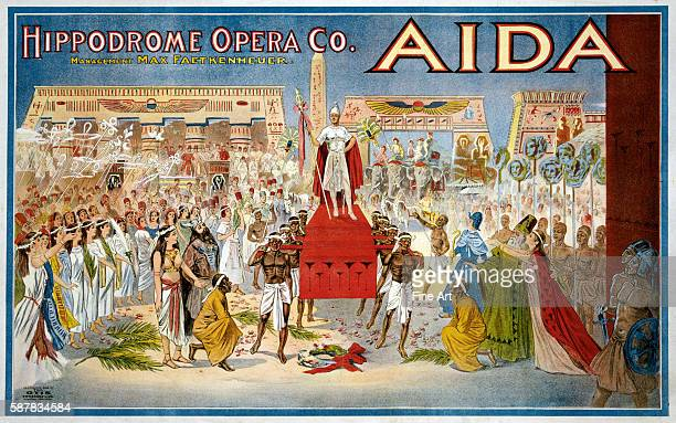1908 poster for Giuseppe Verdi's opera Aida performed by the Hippodrome Opera Company apparently of Cleveland Ohio Published by The Otis Lithograph...