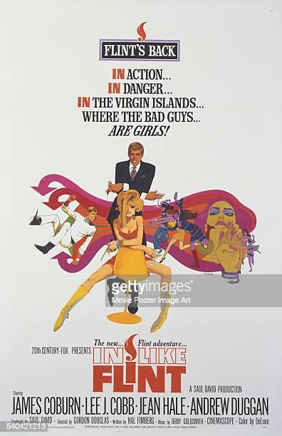 A poster for Gordon Douglas' 1967 spy parody 'In Like Flint' starring James Coburn