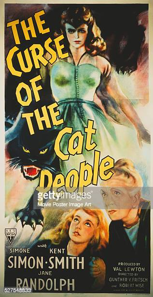 A poster for Gunther von Fritsch's 1944 drama 'The Curse of the Cat People' starring Julie Dean and Ann Carter