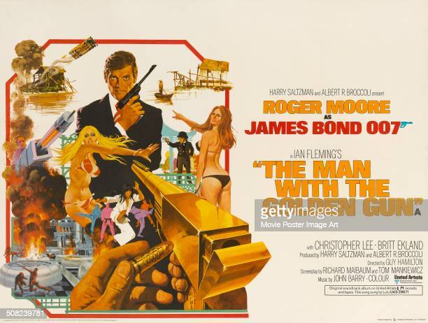 A poster for Guy Hamilton's 1974 action movie 'The Man with the Golden Gun' starring Roger Moore as 'James Bond'